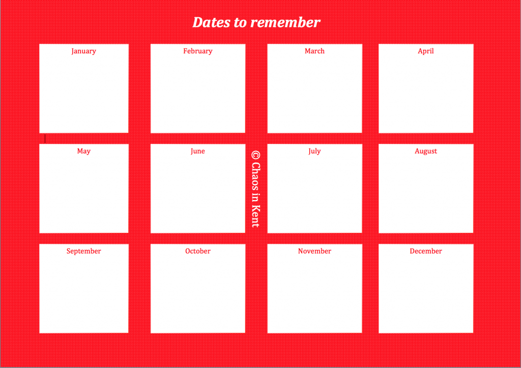 Dates to remember - free download from Chaos in Kent